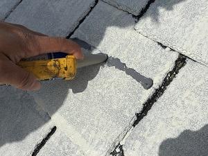 守谷市S様邸 スレート瓦の割れ補修