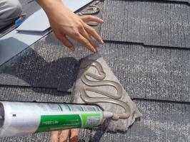 スレート屋根の割れ補修2