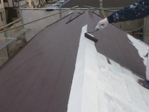 江戸川区M様邸 屋根塗装 上塗り1回目