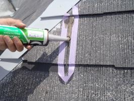 スレート屋根の割れ補修3
