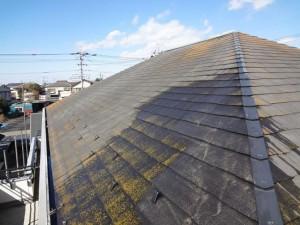 柏の外壁塗装と屋根塗装の屋根の施工前写真