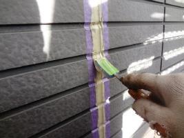 茨城県龍ヶ崎市K様邸の外壁塗装と屋根塗装工程:地のコーキングの打ち替え(ならし)