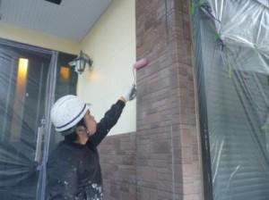 江戸川区M様邸 タイル調外壁部分のクリアー塗装