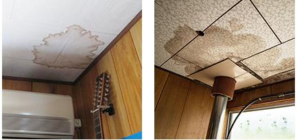 天井の雨漏りのシミ