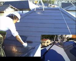 千葉県柏市和田様邸の外壁塗装と屋根塗装工程:中塗り(ルミステージ)