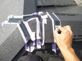 千葉県柏市I様邸の外壁塗装と屋根塗装工程:棟繋ぎのコーキング