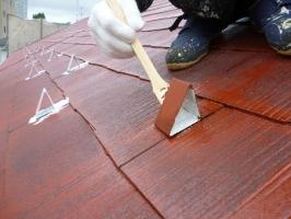 千葉県柏市の屋根塗装工程の板金部下塗り