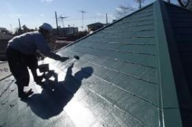 千葉県松戸市の屋根塗装工程の上塗り2回目(サーモアイSi)