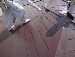 千葉県松戸市S様邸の外壁塗装と屋根塗装工程:上塗り2回目(サーモアイSi)