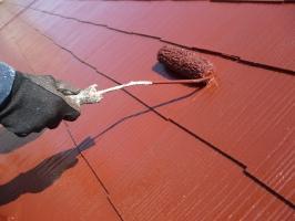 千葉県柏市の屋根塗装工程の上塗り1回目(サーモアイSi)