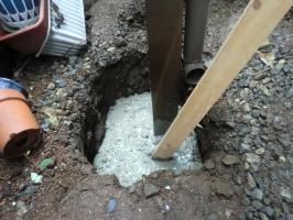 コンクリートの流し込み