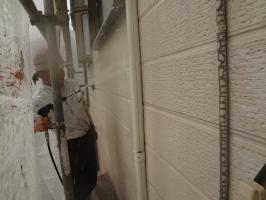 千葉県松戸市S様邸の外壁塗装と屋根塗装工程:高圧洗浄