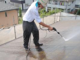 茨城県取手市T様邸の外壁塗装と屋根塗装工程:高圧洗浄