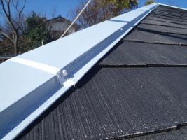千葉県松戸市の屋根塗装工程の釘頭のコーキング